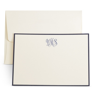 Ivory Monogramed Cards with Raised Ink - UPC 825008199354