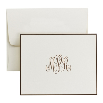Ivory Classic Monogram Bordered Notes