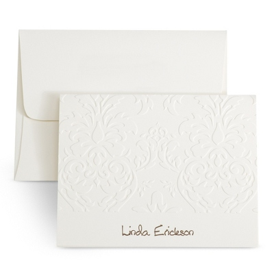 Ivory Embossed Personalized Note Cards
