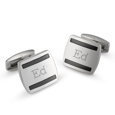 Stainless Steel Hematite Cuff Links with complimentary Weave Texture Valet Box