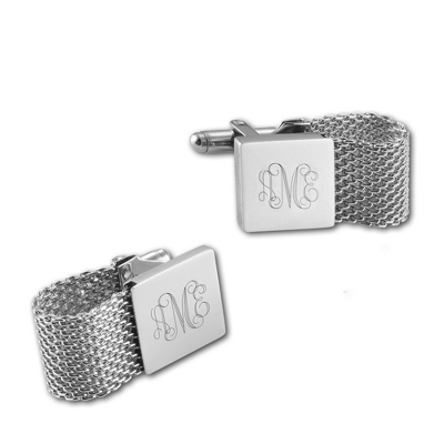 Stainless Steel Mesh Cuff Links with complimentary Weave Texture Valet Box