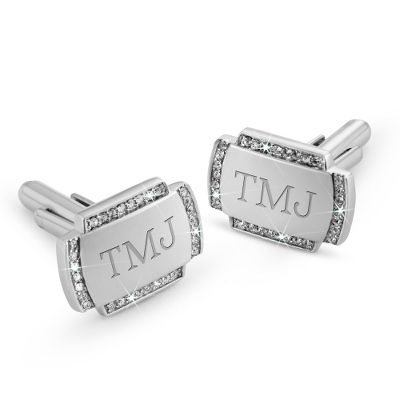 Crystal Cuff Links with complimentary Tri Tone Valet Box