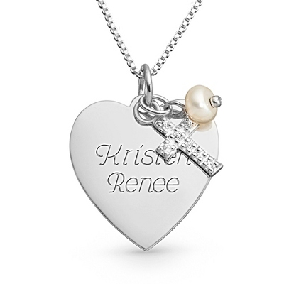 Sterling Silver Heart, Cross and Pearl Necklace with complimentary Filigree Keepsake Box