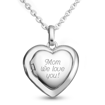 Sterling Silver Family Heart Locket with complimentary Filigree Keepsake Box - UPC 825008199873