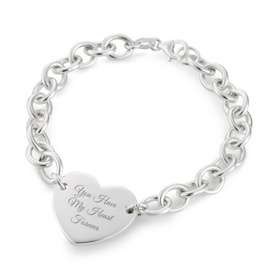 Sterling Silver Open Link Heart Bracelet with complimentary Filigree Keepsake Box - UPC 825008199880