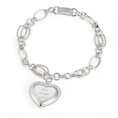 Sterling Textured Link Heart Bracelet with complimentary Filigree Keepsake Box - Sterling Silver Women's Jewelry