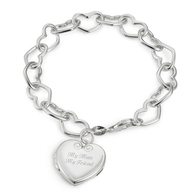 Sterling Open Heart Locket Bracelet with complimentary Filigree Keepsake Box