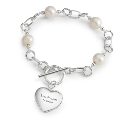 Sterling Pearls & Heart Locket Bracelet with complimentary Filigree Keepsake Box - Sterling Silver Women's Jewelry