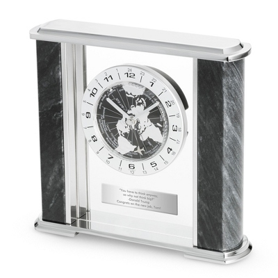 Black Marble World Clock - Business Gifts For Him