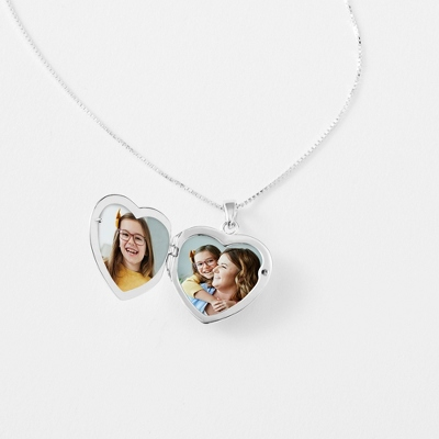 Sterling Silver Pave Heart Locket with complimentary Filigree Keepsake Box - Sterling Silver Necklaces
