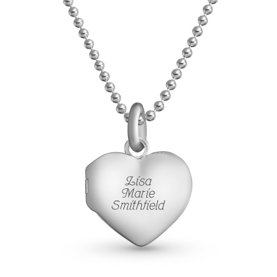 Personalized Beaded Chain Heart Locket with complimentary Filigree Keepsake Box - $19.99