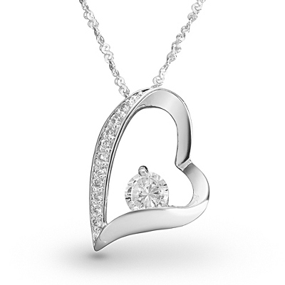 Sterling Open Heart CZ Necklace with complimentary Filigree Keepsake Box
