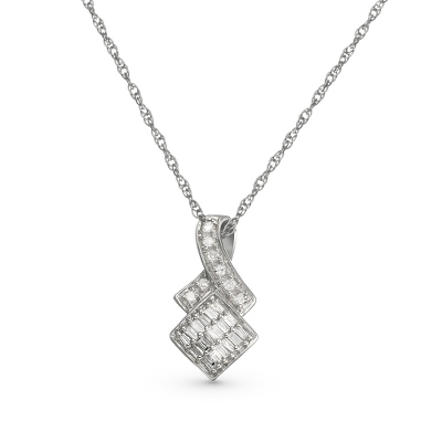 .15 CT Diamond Ribbon Necklace with complimentary Filigree Keepsake Box - $124.99