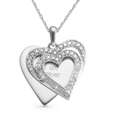 .33 CT Diamond Double Heart Necklace with complimentary Filigree Keepsake Box
