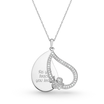 .33 CT Diamond Teardrop Necklace with complimentary Filigree Keepsake Box - Sterling Silver Necklaces
