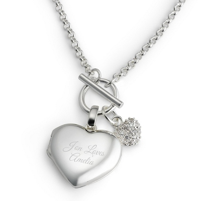 Engraved Heart Toggle Locket with complimentary Filigree Keepsake Box - Bridesmaid Jewelry