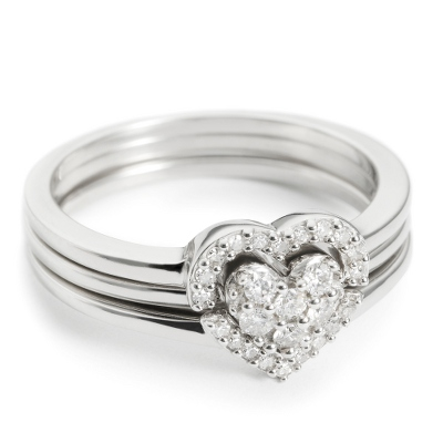 .20 CT Diamond Heart Ring - Size 9 with complimentary Filigree Keepsake Box - Diamond Jewelry