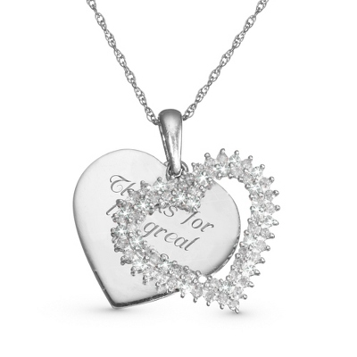 .50 CT Diamond Double Heart Necklace with complimentary Filigree Keepsake Box