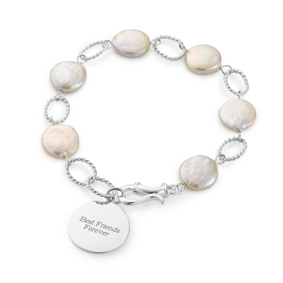 Sterling Freshwater Coin Pearl Bracelet with complimentary Filigree Keepsake Box