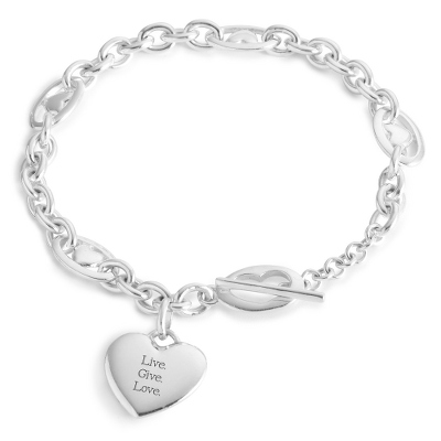 Bracelet Heart Silver Sterling Toggle