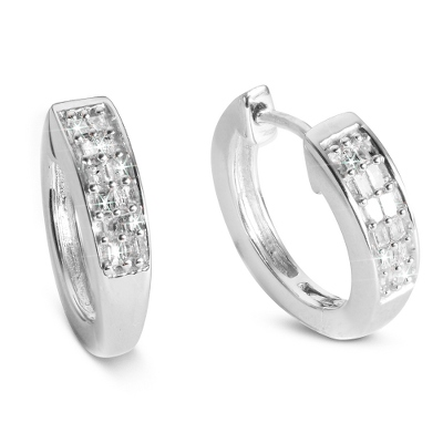 .10 CT Diamond Hoop Earrings with complimentary Filigree Keepsake Box - $90.00