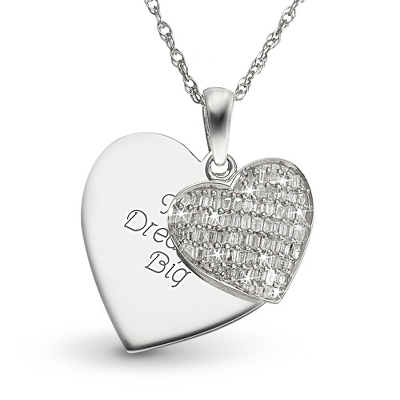.25 CT Diamond Pave Heart Necklace with complimentary Filigree Keepsake Box - Bridal Jewelry