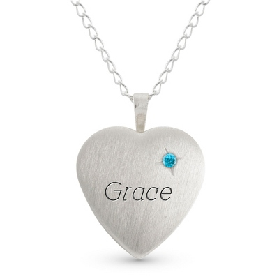 Girl's Sterling March Birthstone Locket with complimentary Filigree Heart Box