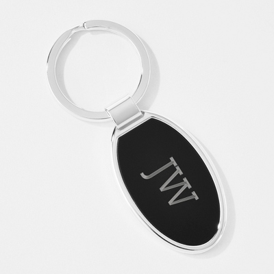 Black Matte Oval Key Chain - Top Groomsmen Gifts