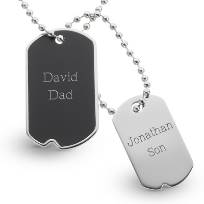 Black Matte Dog Tags- Vertical with complimentary Tri Tone Valet Box - Men's Jewelry