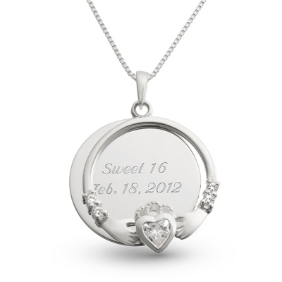 Sterling Silver Clear Claddagh Necklace with complimentary Filigree Keepsake Box