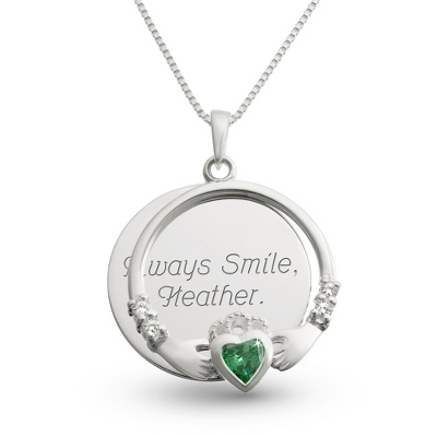 Sterling Silver Green Claddagh Necklace with complimentary Filigree Keepsake Box