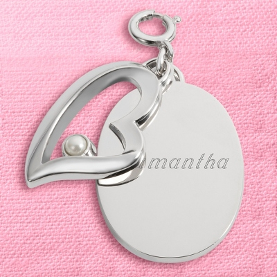 Engraved Charm with Pearl