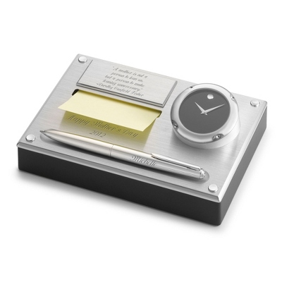 Personalized Movado Brushed Aluminum Clock Desk Set By Things Remembered