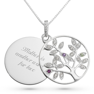Genuine 3 Birthstone Tree Necklace with complimentary Filigree Keepsake Box