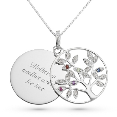 Genuine 5 Birthstone Tree Necklace with complimentary Filigree Keepsake Box