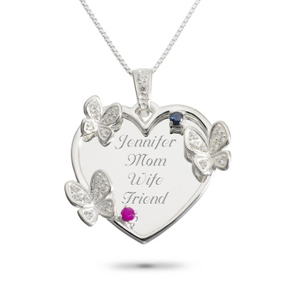 Sterling 2 Stone Butterfly Family Necklace with complimentary Filigree Keepsake Box