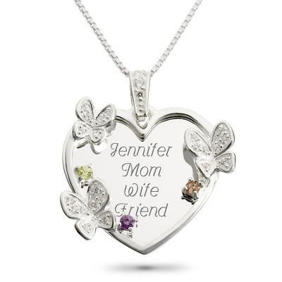 Sterling 3 Stone Butterfly Family Necklace with complimentary Filigree Keepsake Box