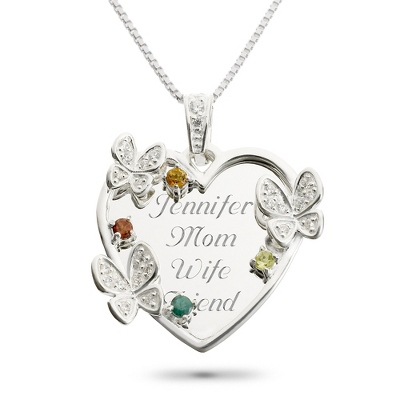 Sterling 4 Stone Butterfly Family Necklace with complimentary Filigree Keepsake Box - UPC 825008206335