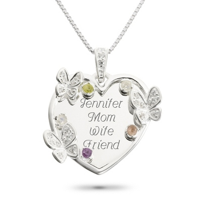 Sterling 5 Stone Butterfly Family Necklace with complimentary Filigree Keepsake Box - $74.99