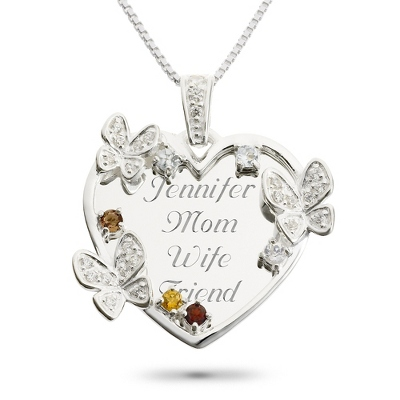 Sterling 6 Stone Butterfly Family Necklace with complimentary Filigree Keepsake Box