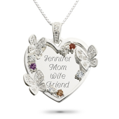 Sterling 7 Stone Butterfly Family Necklace with complimentary Filigree Keepsake Box