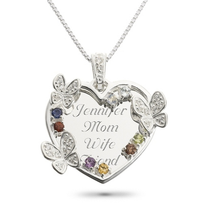 Sterling 8 Stone Butterfly Family Necklace with complimentary Filigree Keepsake Box