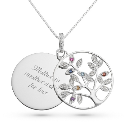 Genuine 6 Birthstone Tree Necklace with complimentary Filigree Keepsake Box