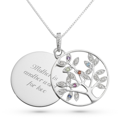 Genuine 7 Birthstone Tree Necklace with complimentary Filigree Keepsake Box
