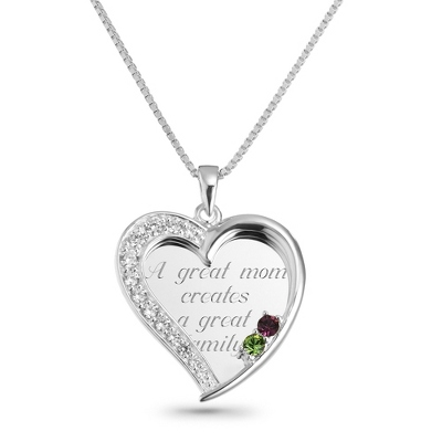 2 Stone Sterling Swing Heart Necklace with complimentary Filigree Keepsake Box - Sterling Silver Necklaces