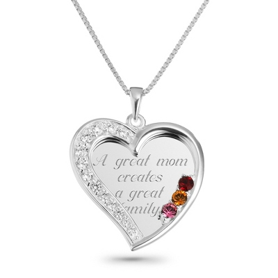 3 Stone Sterling Swing Heart Necklace with complimentary Filigree Keepsake Box