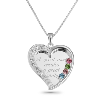 4 Stone Sterling Swing Heart Necklace with complimentary Filigree Keepsake Box