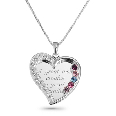 5 Stone Sterling Swing Heart Necklace with complimentary Filigree Keepsake Box