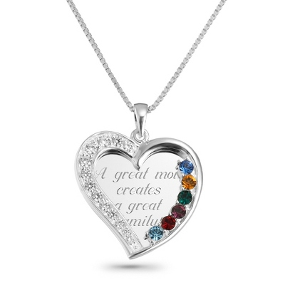 6 Stone Sterling Swing Heart Necklace with complimentary Filigree Keepsake Box