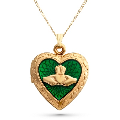 14K Gold Filled Claddagh Locket with complimentary Filigree Keepsake Box